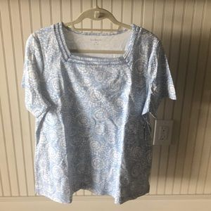 Women's Light Blue/White Patterned Shirt